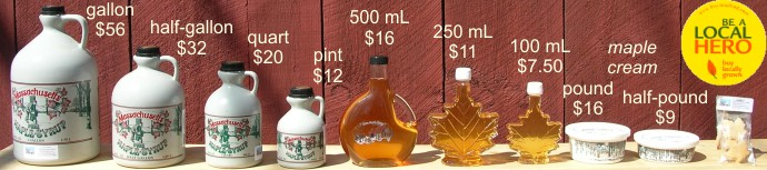 maple syrup products and prices